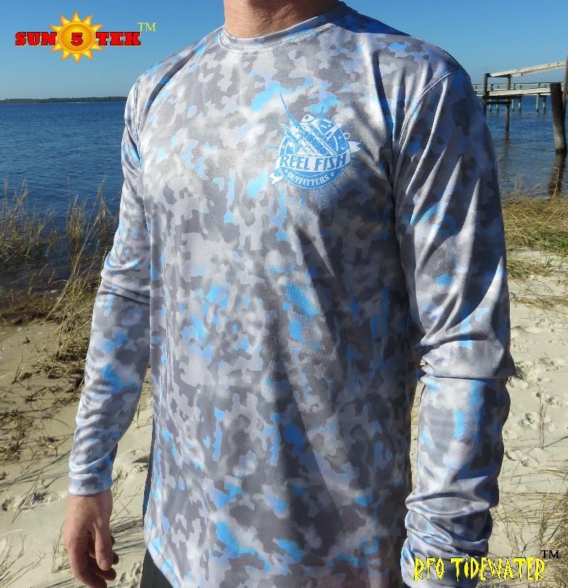 Reel fish outfitters sun tek 5 elite tidewater for Custom saltwater fishing shirts